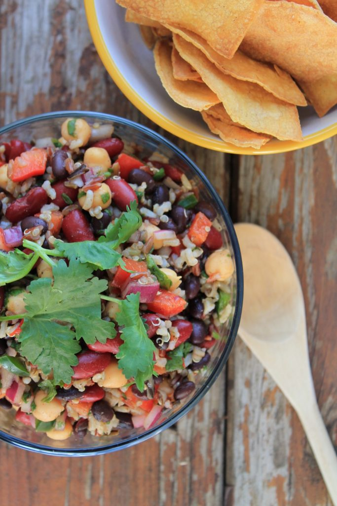wild rice bean and veggie salad with chips