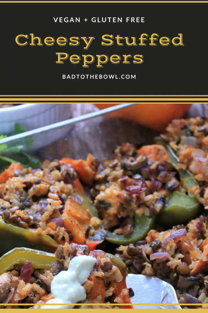 Cheesy Stuffed Peppers (Vegan + Gluten Free)