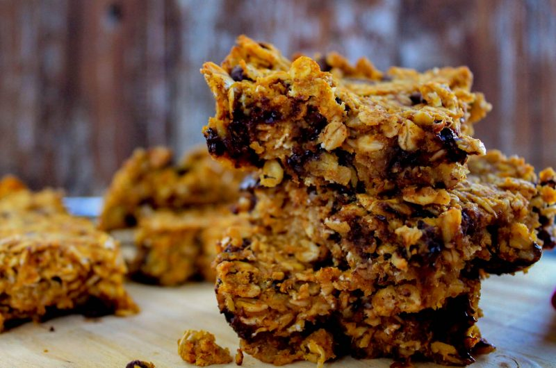 Peanut Butter Pumpkin Chocolate Chip Granola Bars (Vegan + Gluten Free)