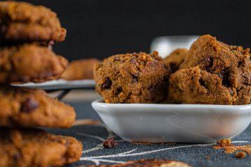 gluten free almond butter pumpkin spice chocolate chip cookies